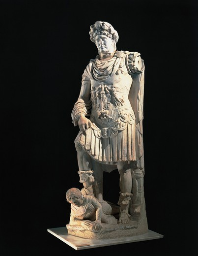 Marble statue of emperor Hadrian stepping on enemy, from Ierapetra, ancient Hierapytna, Greece : Stock Photo
