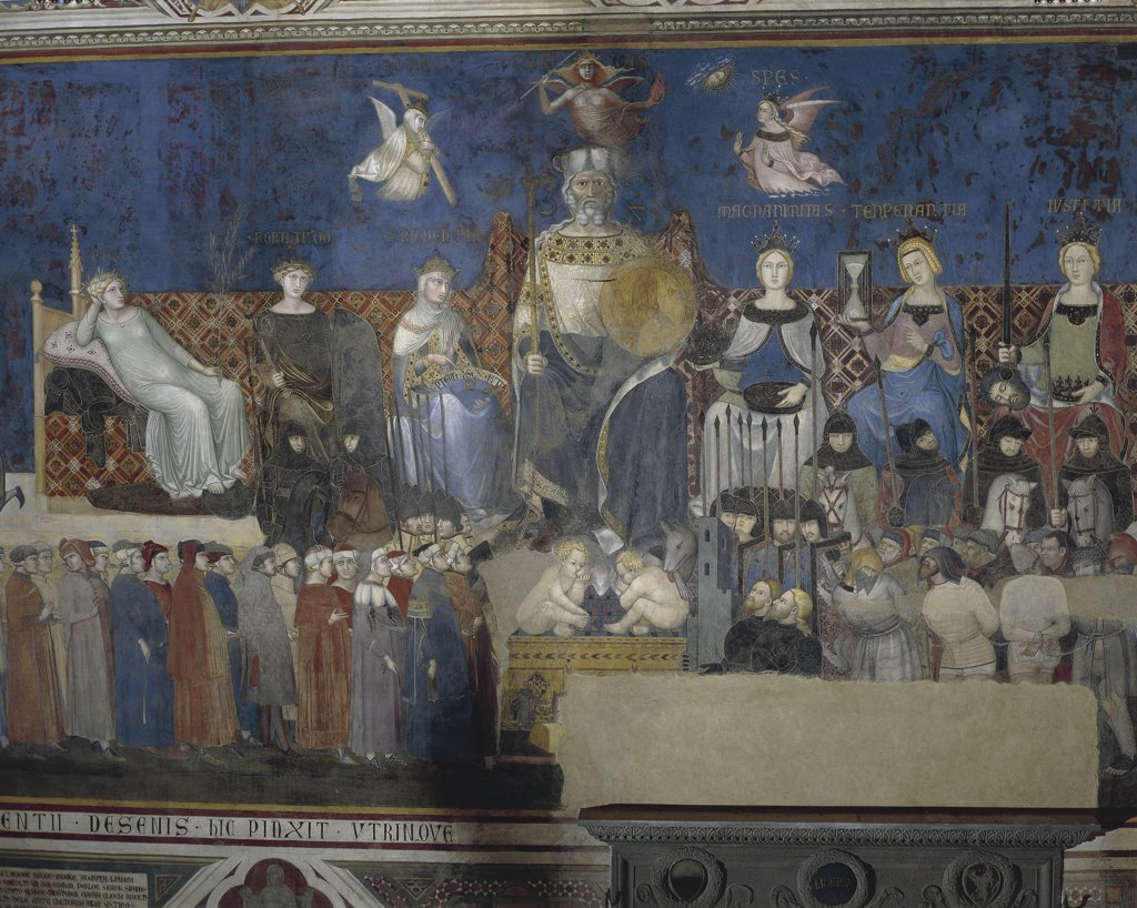 Italy - Tuscany region - Siena - The Palazzo Pubblico (Town Hall), Hall of the Nine (also known as Sala della Pace). Ambrogio Lorenzetti (1319-1347), Effects of Good and Bad Government on Town and Country. Allegory of Good Government (1337-1343). Fresco detail : Stock Photo