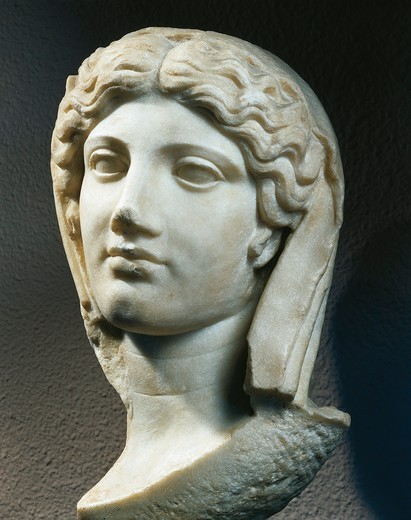 Marble head of woman, from Ephesus, Turkey : Stock Photo