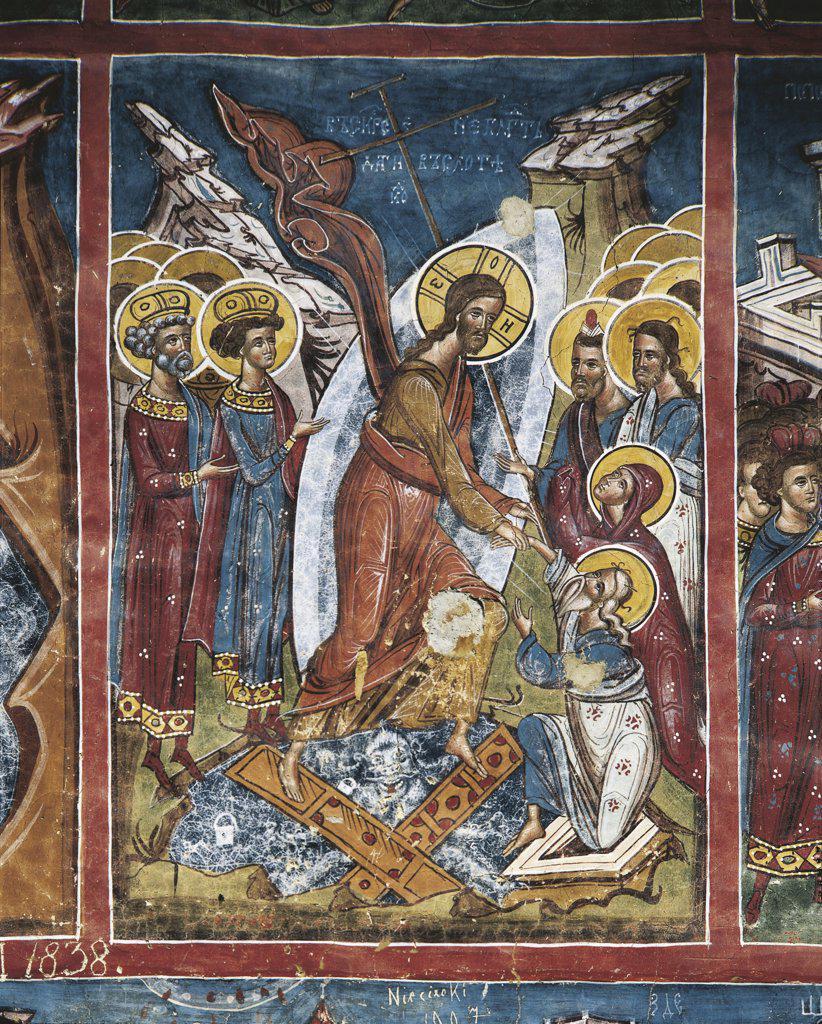 Romania - Moldavia - 16th century. Moldovita Monastery. The Transfiguration of Jesus on mount Tabor (1537). Fresco : Stock Photo