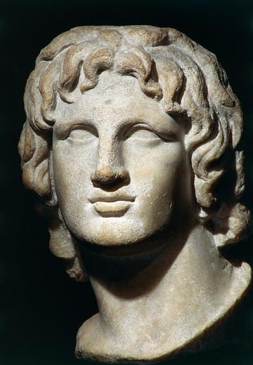 Marble head of Alexander the Great, height 37 cm, Probably from Alexandria, Egypt : Stock Photo