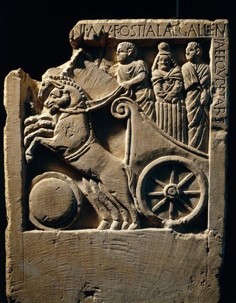 Roman civilization. Funerary stele of Ostilia Galliena. Relief depicting the journey to the underworld : Stock Photo