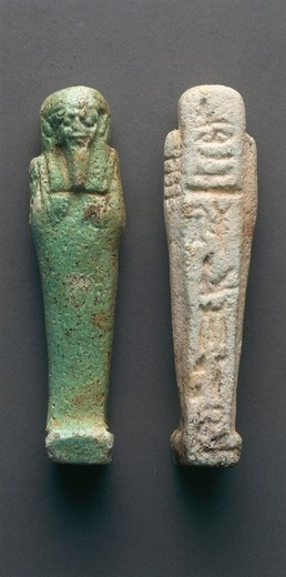Stock Photo: 1788-20282 Egyptian civilization. Shabtis, anterior and posterior view. From Bahariya Oasis, Sheik Souby. Governor's Tomb, Tomb of Nassa (mother?)