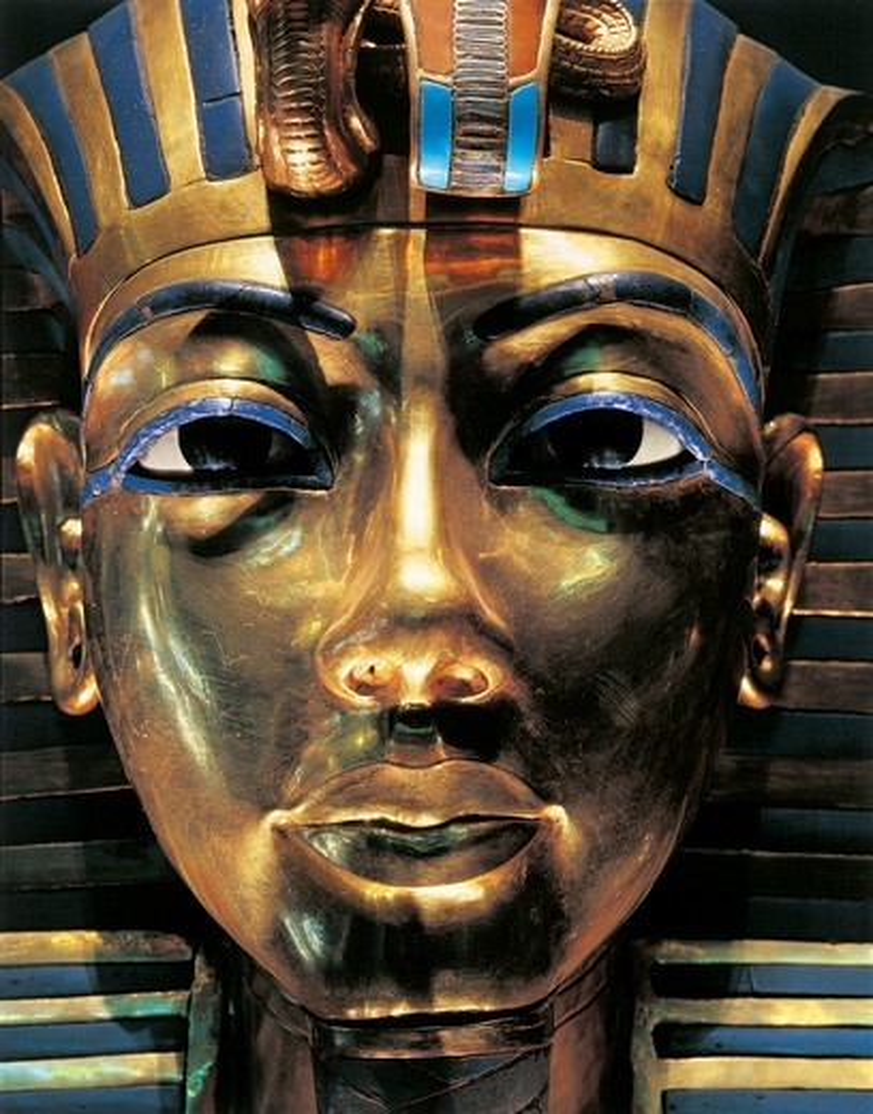 Burial mask of pharaoh Nebkheperura Tutankhamen, from Treasure of Tutankhamen : Stock Photo