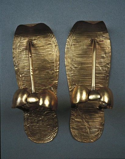 Stock Photo: 1788-20325 Gold sandals, from Treasure of Tutankhamen