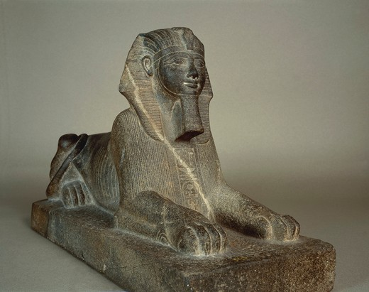Stock Photo: 1788-20329 Granite sphinx of Thutmose III, from Courtyard of the Cachette at Temple of Amun, Karnak, Egypt