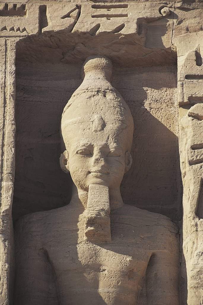 Egypt. Nubian monuments at Abu Simbel (UNESCO World Heritage List, 1979). Statuary at dedicated to goddess Hathor Temple of Nefertari : Stock Photo