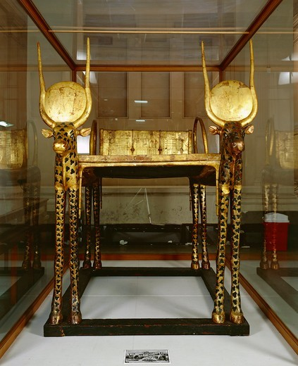 Treasure of Tutankhamen, funerary zoomorphic bed, sides representing Mehetweret, the cow goddess from New Kingdom : Stock Photo