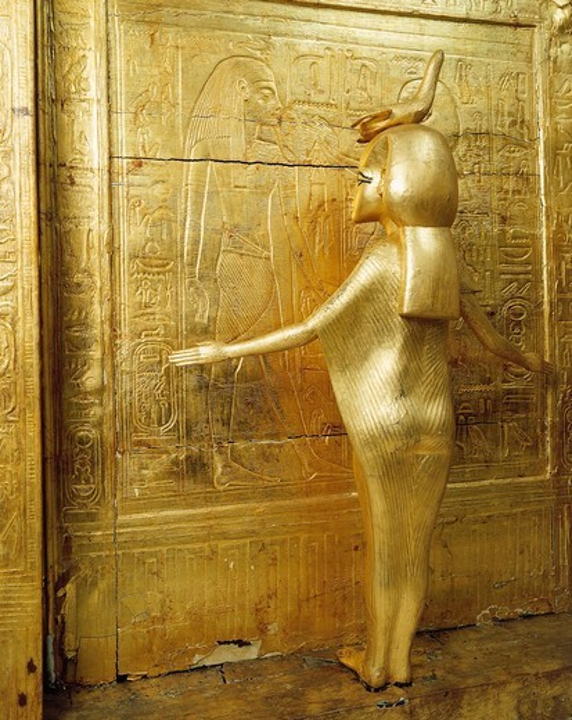 Stock Photo: 1788-20362 Treasure of Tutankhamen, gilded shrine of canopic jars or canopic chest from New Kingdom