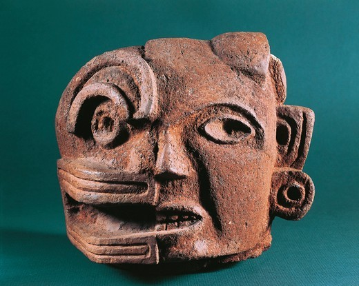 Stock Photo: 1788-20434 Zapotec civilization, Classic period (200-900). Painted terracotta head, representing duality of life and death from the Central Valleys