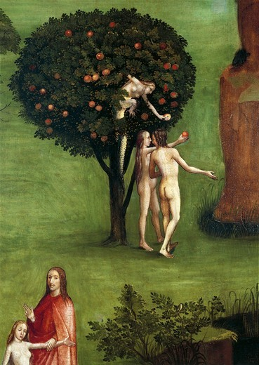Austria, Vienna, Hieronymus Bosch (1450-1516), The Last Judgment triptych, Central panel, Adam and Eve receiving the Apple from the Snake, detail, 1504 : Stock Photo