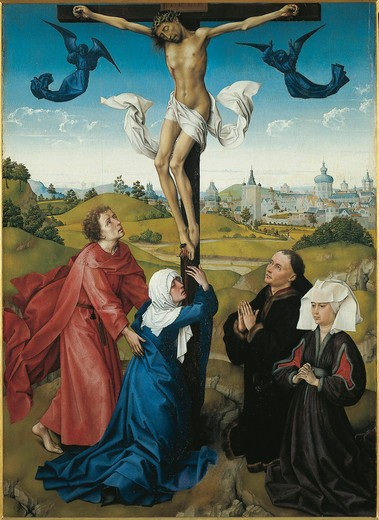 Stock Photo: 1788-20710 Austria, Vienna, Triptych of the Crucifixion, 1440, oil on panel, detail the Crucifixion, central panel