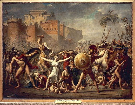 France, Paris, The Battle of the Romans and the Sabines : Stock Photo