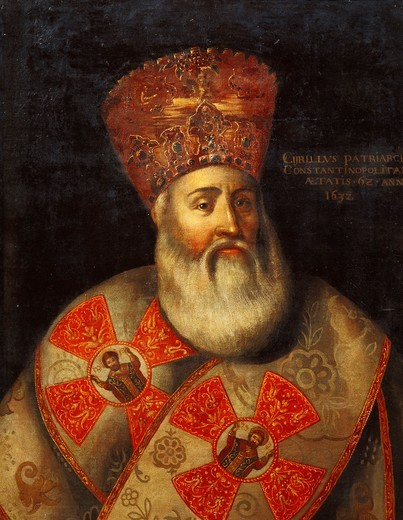 Switzerland, Geneva, Portrait of Patriarch of Constantinople, Cyril Lucaris (1572-1638), 1632 : Stock Photo