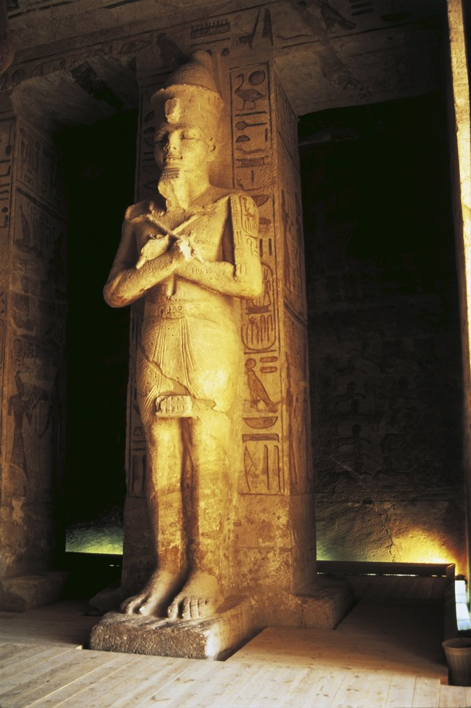 Stock Photo: 1788-2102 Egypt. Nubian monuments at Abu Simbel (UNESCO World Heritage List, 1979). Great Temple of Ramses II. Hypostyle Hall. Statue of pharaoh depicted as god Osiris