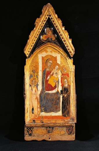 Stock Photo: 1788-21027 Italy, Asissi, Madonna and Child with Saints