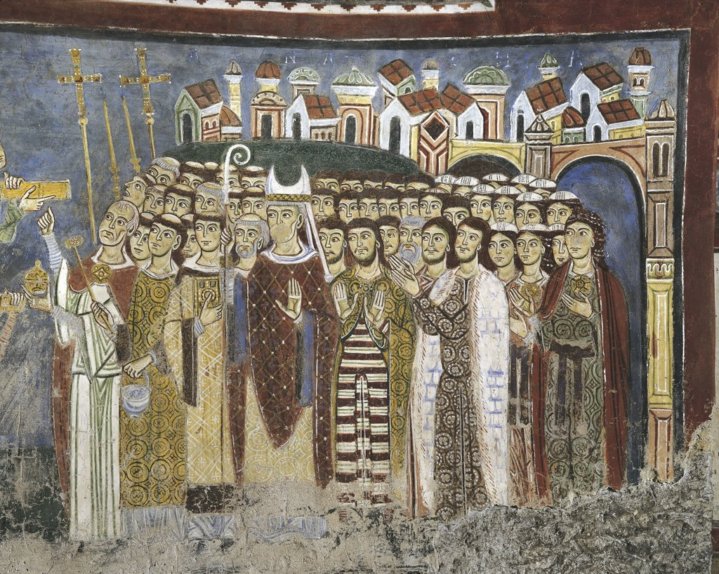 Italy - Latium region - Anagni (Frosinone province). 13th century. Cathedral of Anagni, dedicated to Santa Maria, crypt. Bishop Zaudria and the people of Anagni waiting for the restitution of the remains of St. Magnus. Fresco detail : Stock Photo