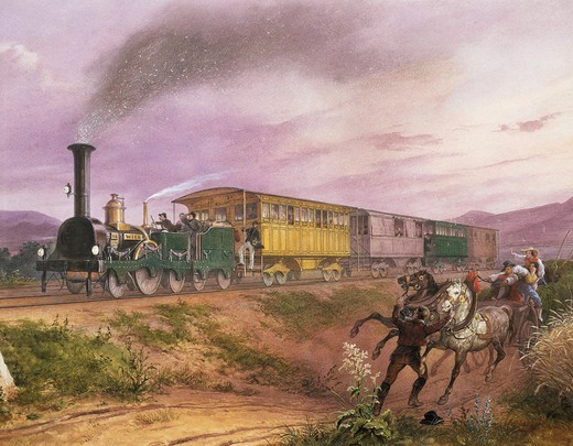 Austria, Vienna, watercolour painting of the steam engine : Stock Photo