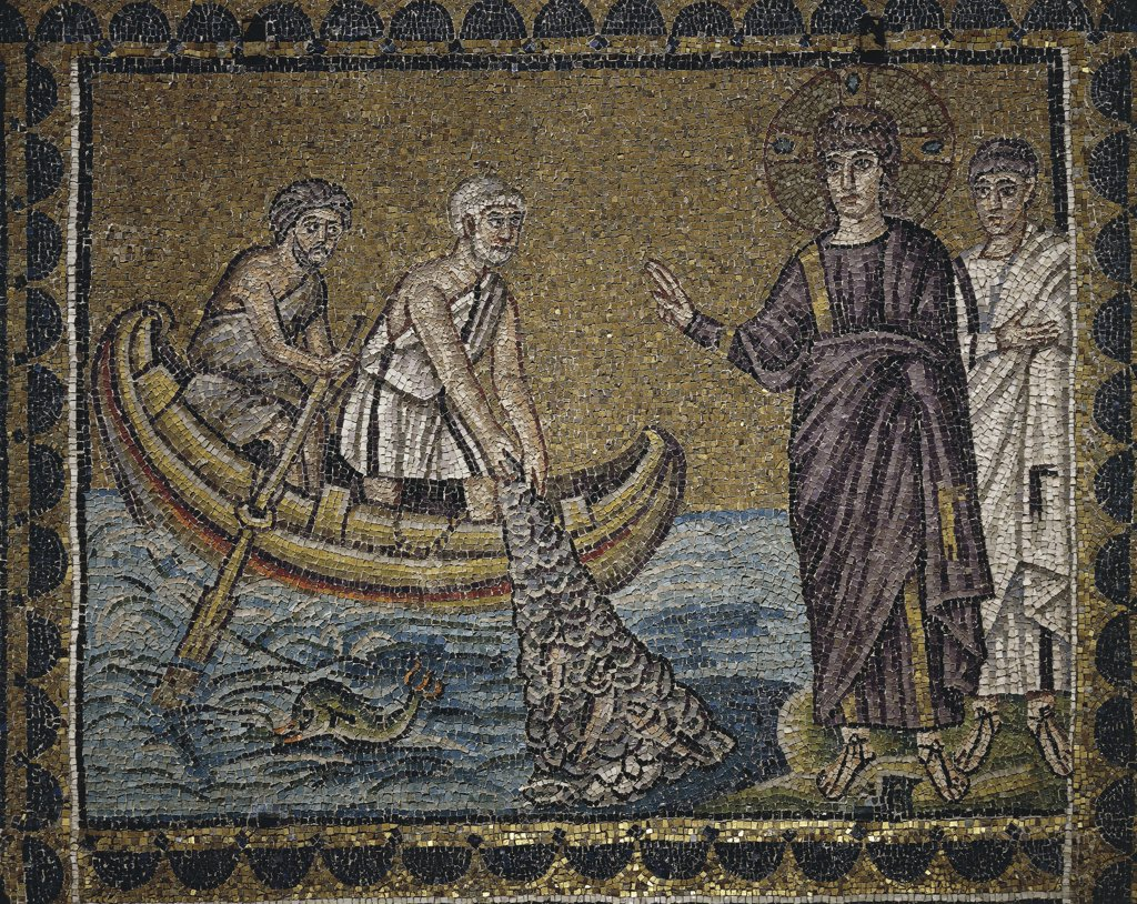 Stock Photo: 1788-2134 Italy - Emilia-Romagna region - Ravenna. Basilica of St. Apollinare Nuovo (late 5th-early 6th century A.D.). The miraculous catch of 153 fishes. Mosaic