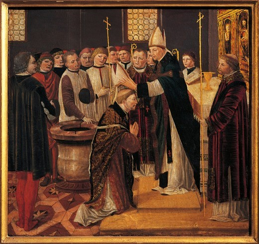 Stock Photo: 1788-21346 Italy, Certosa di Pavia, painting of Consecration of Saint Augustine, predella of Altar-piece of Saint Augustine