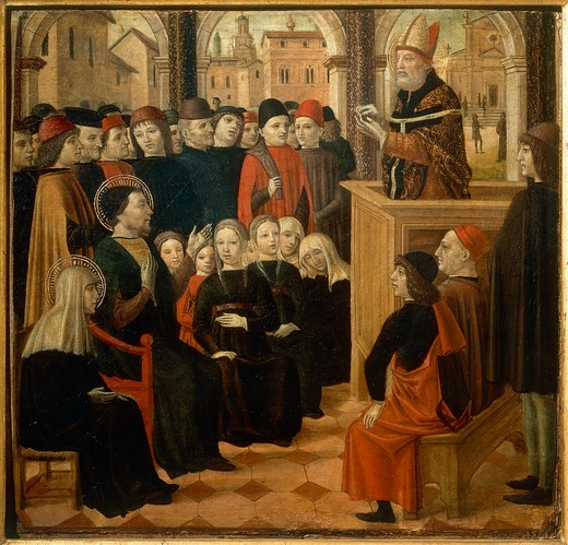 Italy, Certosa di Pavia, painting of A Sermon by Saint Ambrose, predella of Altar-piece of Saint Augustine : Stock Photo