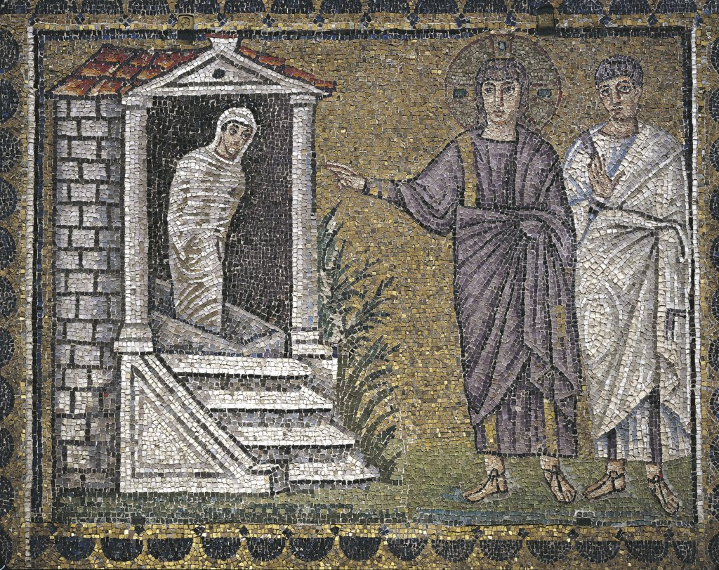 Stock Photo: 1788-2136 Italy - Emilia-Romagna region - Ravenna. Basilica of St. Apollinare Nuovo (late 5th-early 6th century A.D.). The Raising of Lazarus. Mosaic