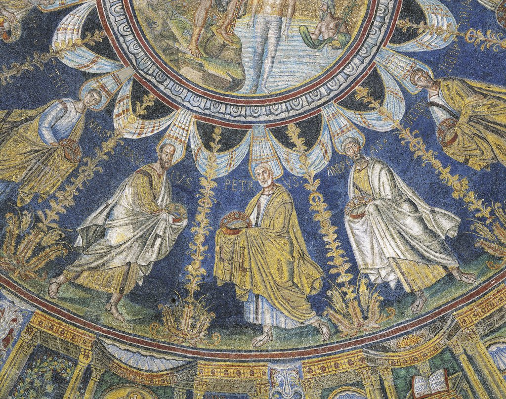 Italy - Emilia-Romagna region - Ravenna. Baptistry of Neon (or Orthodox Baptistry), dome. The Apostles Thomas, Peter, Andrew and James (second half of the 5th century A.D.). Mosaic detail : Stock Photo