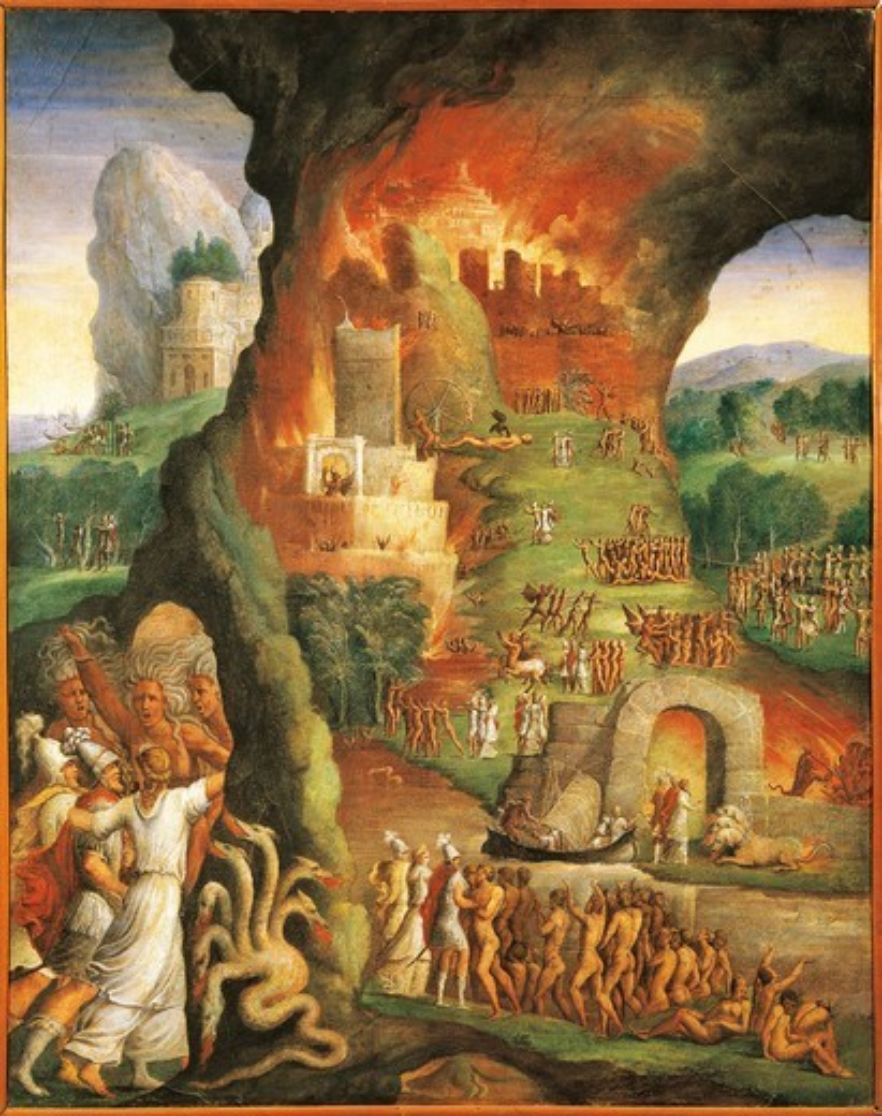 Stock Photo: 1788-21518 Italy, Varallo Sesia, The fire of Troy, Scene from the Aeneid, Fresco detail
