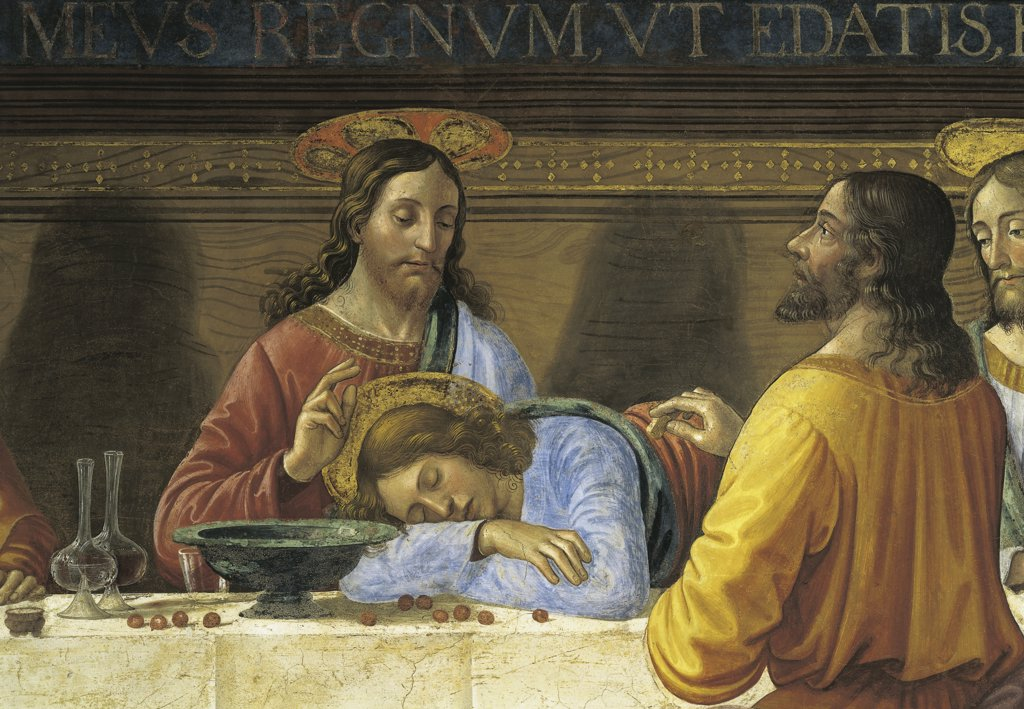 Italy - Tuscany region - Florence. St. Mark's church, small 'board room' refectory. Domenico Ghirlandaio (1449-1494), The Last Supper, Jesus Christ (c. 1480). Fresco detail : Stock Photo