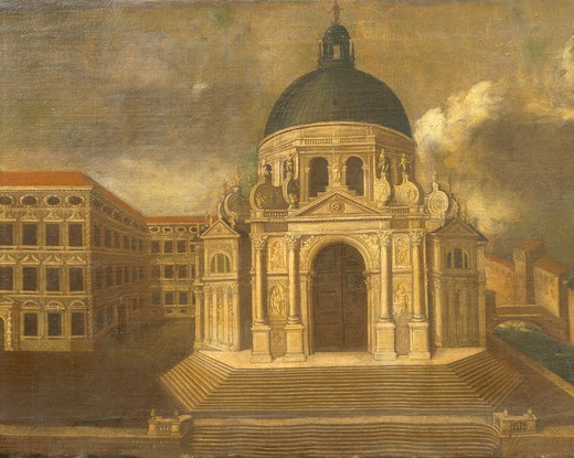Stock Photo: 1788-21683 Italy, Venice, Salute Island with Basilica of Santa Maria della Salute, House of Somaschi Fathers and Dogana da Mar, close-up