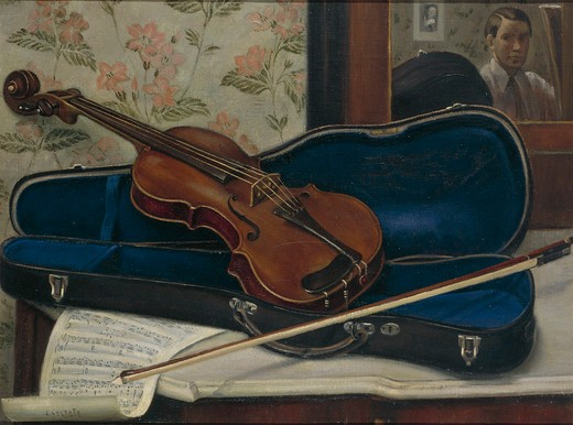 Italy, Rome, oil on canvas painting of The Violin at the Mirror : Stock Photo