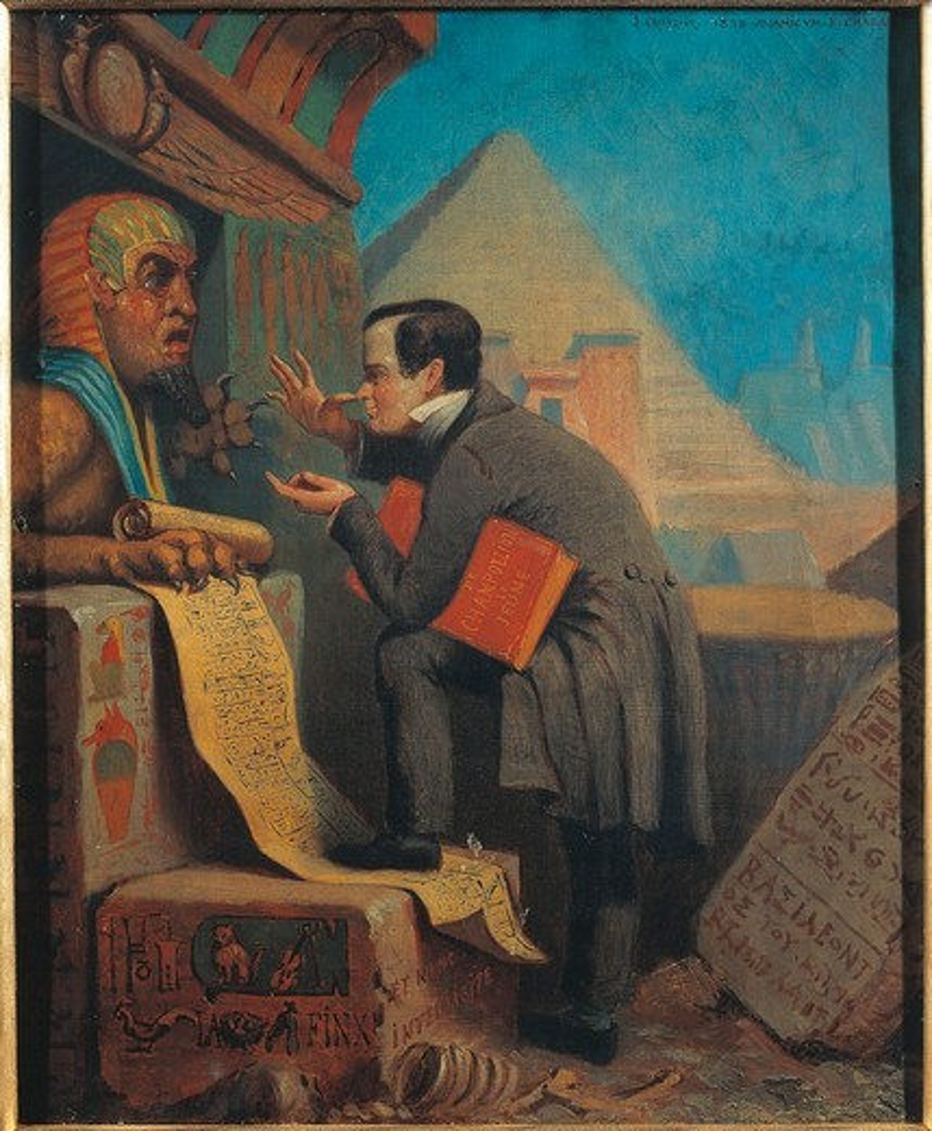 France, Chalon-sur-Saone, Ironic Portrait of Francois Chabas, expert on Egyptian hieroglyphs : Stock Photo