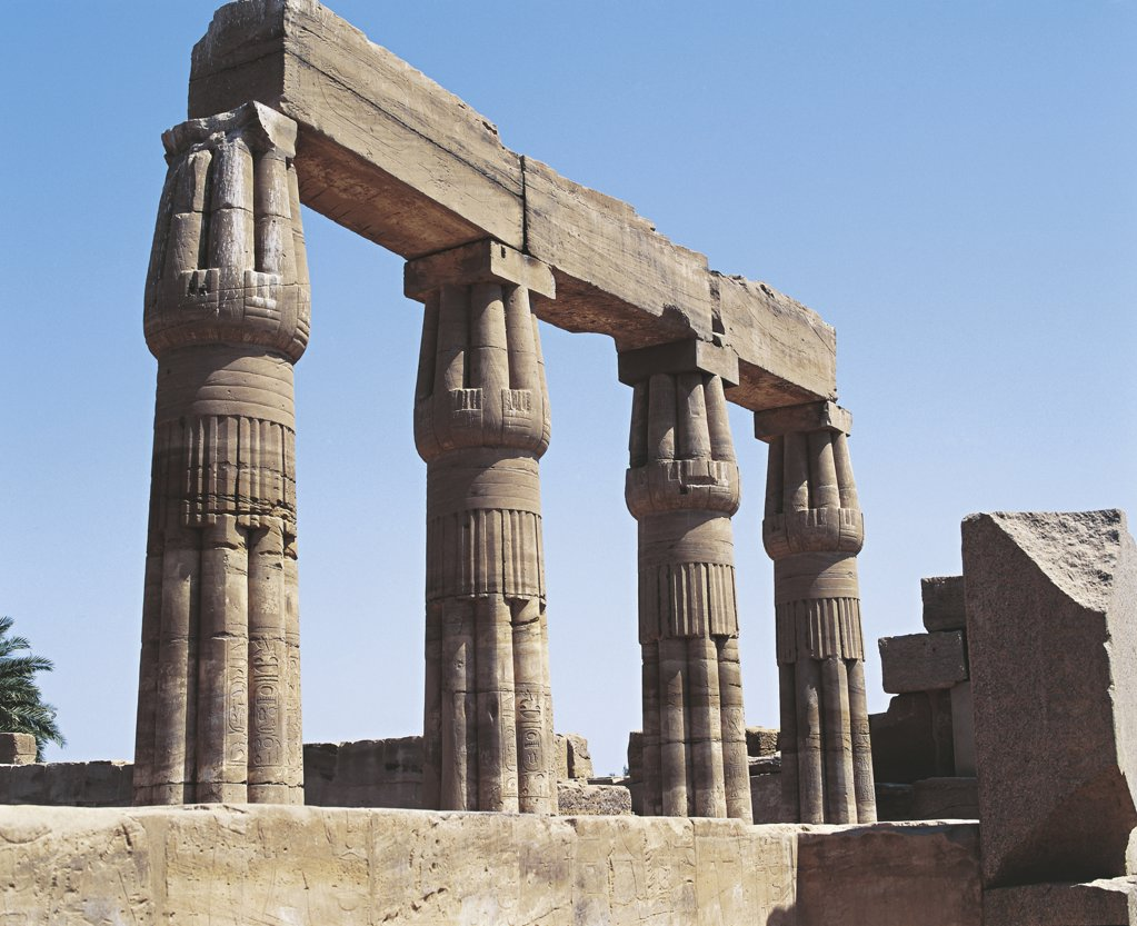 Stock Photo: 1788-2185 Egypt - Ancient Thebes (UNESCO World Heritage List, 1979). Luxor. Karnak. Great Temple of Amon. Botanical Garden Hall. Columns in form of papyrus. Thutmose III's reign, 1490-1436 BC