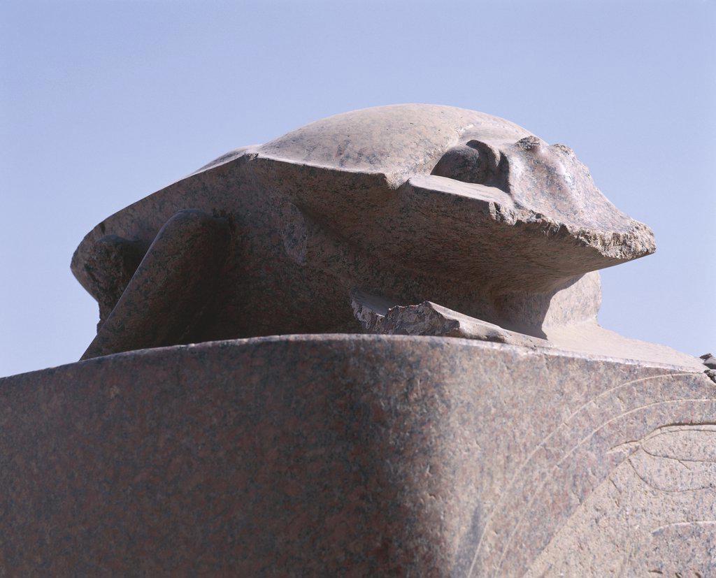 Egypt - Ancient Thebes (UNESCO World Heritage List, 1979). Luxor. Karnak. Great Temple of Amon. Sun god Atum-Khepri granite scarab. Amenhotep III' reign, 1402-1364 BC : Stock Photo