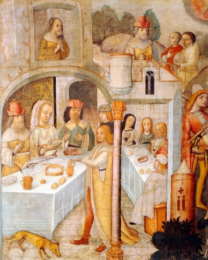 Italy, Cremona, Feast scene from the Biblical Book of Job : Stock Photo