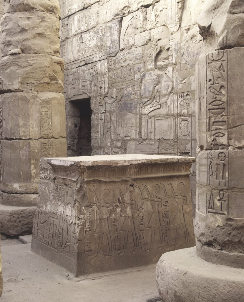 Stock Photo: 1788-2201 Egypt - Ancient Thebes (UNESCO World Heritage List, 1979). Karnak. Temple of Khons. Sanctuary. Court. Detail of solar altar and reliefs of pharaoh