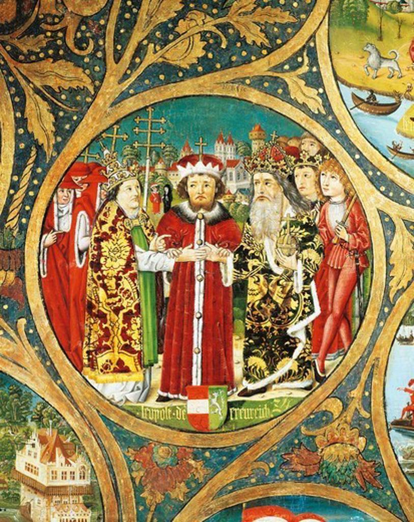 Austria, Klosterneuburg, Leopold VI the Glorious (1176-1230) reconciling Pope Gregory IX (circa 1170-1241) and Emperor Frederick II (1194-1250) at Treaty of San Germano (1230) : Stock Photo