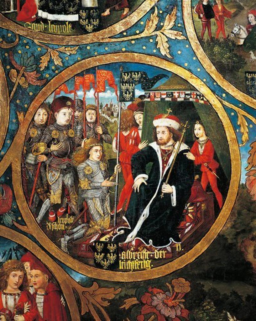 Austrai, klosterneuburg, Albrecht of Leichtfertige Donating two Castles to his brother Leopold III : Stock Photo