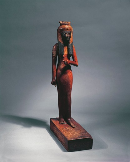 Stock Photo: 1788-22245 Egypt, Statuette representing the Queen Ahmose-Nefertari (circa 1570-1505 B.C.), mother of Pharaoh Amenhotep I (circa 1526-1497), eighteenth Dynasty