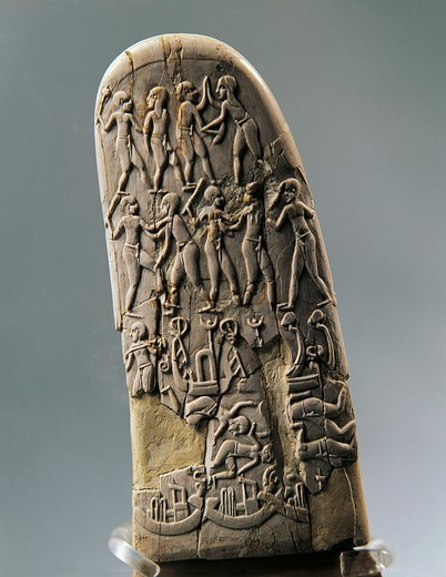 Stock Photo: 1788-22252 Gebel el-Arak Knife handle, carved with land battle and sea battle scenes, late Predynastic period