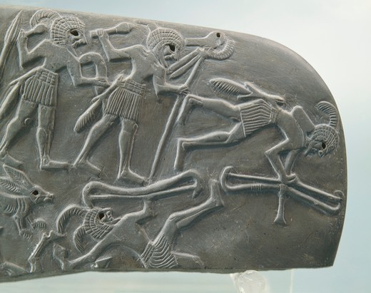 Detail of tablet depicting a hunting scene, Predynastic period, bas-relief : Stock Photo