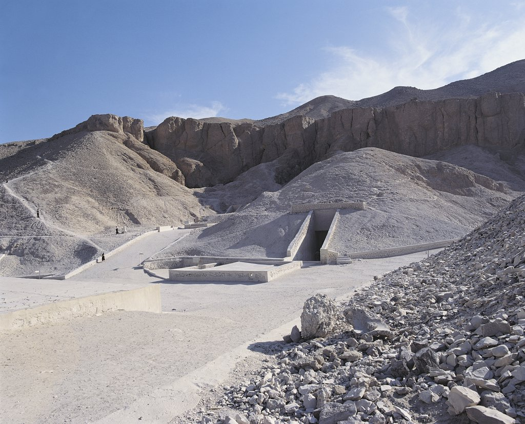 Stock Photo: 1788-2228 Egypt - Ancient Thebes (UNESCO World Heritage List, 1979). Valley of the Kings. Royal tombs of Ramses VI (1151-1143 BC), on left, of Tutankhamen (1347-1338 BC), center, and Merneptah (1224-1214 BC), right
