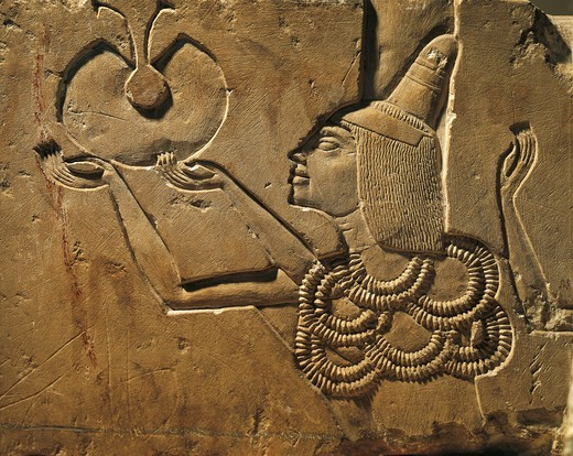 Egypt, Tell el-Amarna, Bas-relief depicting an offerer, eighteenth dynasty, New Kingdom, limestone : Stock Photo
