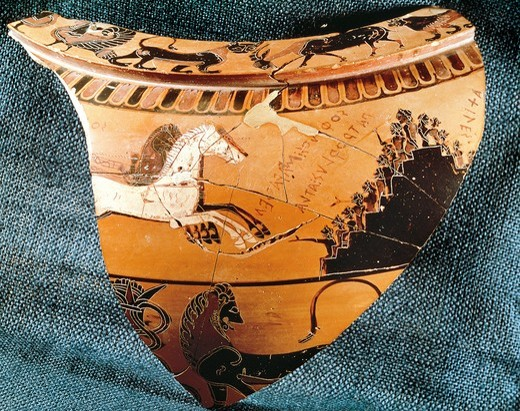 Stock Photo: 1788-22340 Greece, Athens, Fragment of attic black-figure pottery depicting scenes of sport support, circa. 570 B.C