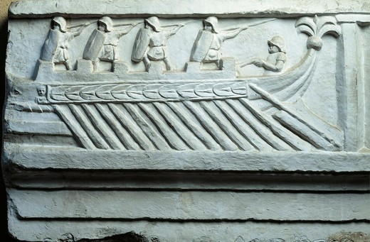 Italy, Rome, Roman warship, cast from the original work situated in the Jordans' Cemetery in Rome : Stock Photo