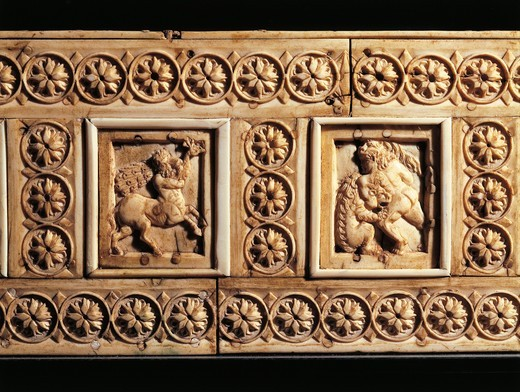 Box depicting mythological scenes and games scenes, ivory : Stock Photo