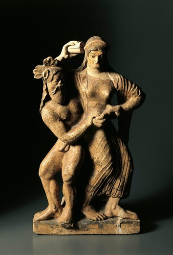 Stock Photo: 1788-22511 Ante-fixae (roof- architectonic element) representing a satyr and a Bacchae (Bacchante) dancing