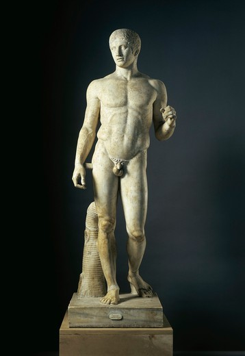 Stock Photo: 1788-22534 Italy, Campania, Pompeii, The Doryphoros, Hellenistic-Roman copy after the original statue by Polykleitos (circa 465- 417 B.C.)