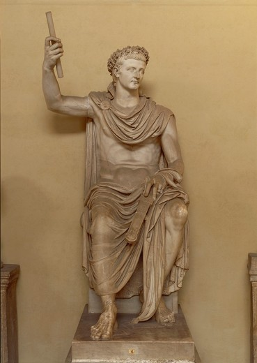 Statue representing the Emperor Tiberius (Tiberius Claudius Drusus, 42 B.C.- 37 A.D. Emperor from 14 to 37 A.D.), Julio-Claudian Dynasty, imperial age, marble : Stock Photo