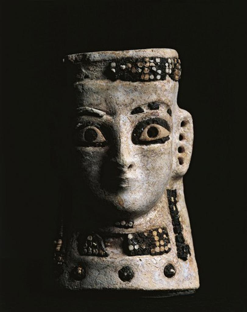 Iraq, Tell al-Rimah, Female face, frit : Stock Photo